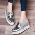 Slipsole Solid Color Sequined Cloth Flat Platform Shoes Plain Slip On Shoes For Women Soft Leather Silver Shoes Bling Runway