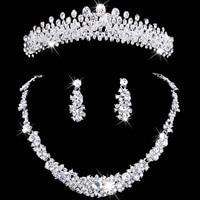 Cristal conjunto joyería de la boda rhinestone collar y pendiente collar mujeres set corona nupcial aretes collar