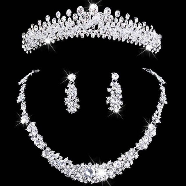 Pha lê trang sức set rhinestone wedding jewelry necklace và earring sets vòng cổ phụ nữ đặt Cô Dâu Vương Miện Necklace Earring Set