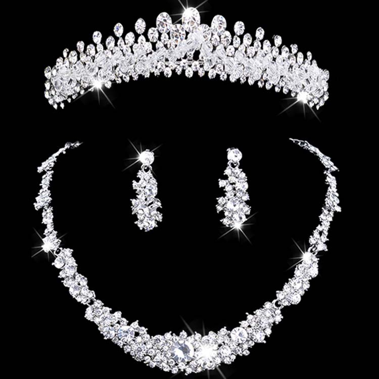 crystal jewelry set rhinestone wedding jewelry necklace and earring sets necklace women set Bridal Crown Necklace