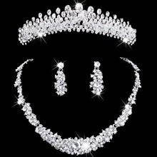 Кристалл комплект ювелирных изделий горный хрусталь свадебные ювелирные колье и серьги наборы ожерелье женщины Свадебный Венец Ожерелье Серьги Набор
