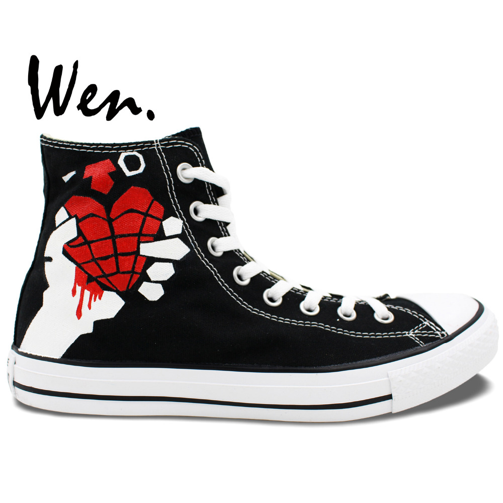 ФОТО Wen Black Hand Painted Shoes Unisex Casual Shoes Custom Design Green Day Men Women's High Top Canvas Shoes Christmas Gifts