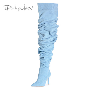 Limited Edition Pink Palms Shoes Women Thigh High Boots Over the Knee Slouch Wrinkle Boots Women High Heels Plaid Boots Denim