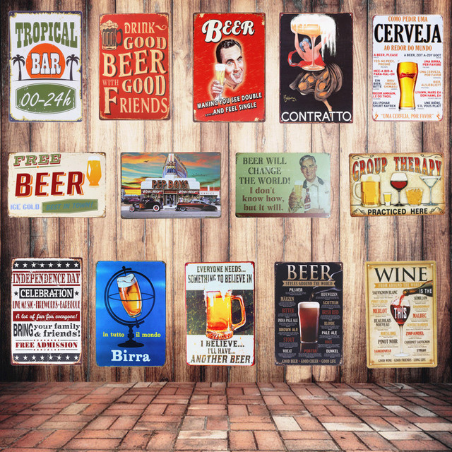 Retro Plaque Drink Beer Metal Tin Sign Home Bar Pub Club Wall Decor Art Poster Painting