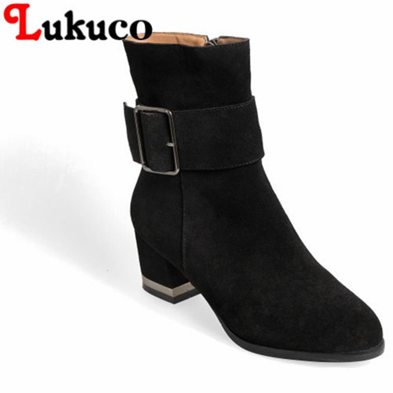 2017 NEW SALE Lukuco women mid-calf boots concise pure color zipper cool design high quality genuine leather shoes free shipping double buckle cross straps mid calf boots
