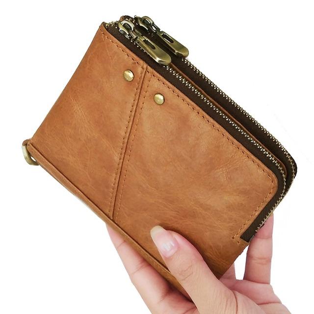 Billeteras & Carteras De 100% de cuero genuino de los hombres cartera Slim Cartera de cuero Hombre monedero de dinero era moneda bolso de la tarjeta de teléfono caso Clip de bolsillo