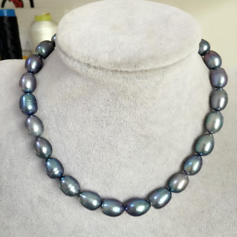 "stunning 13-14mm tahitian black green baroque pearl necklace18""925silver"
