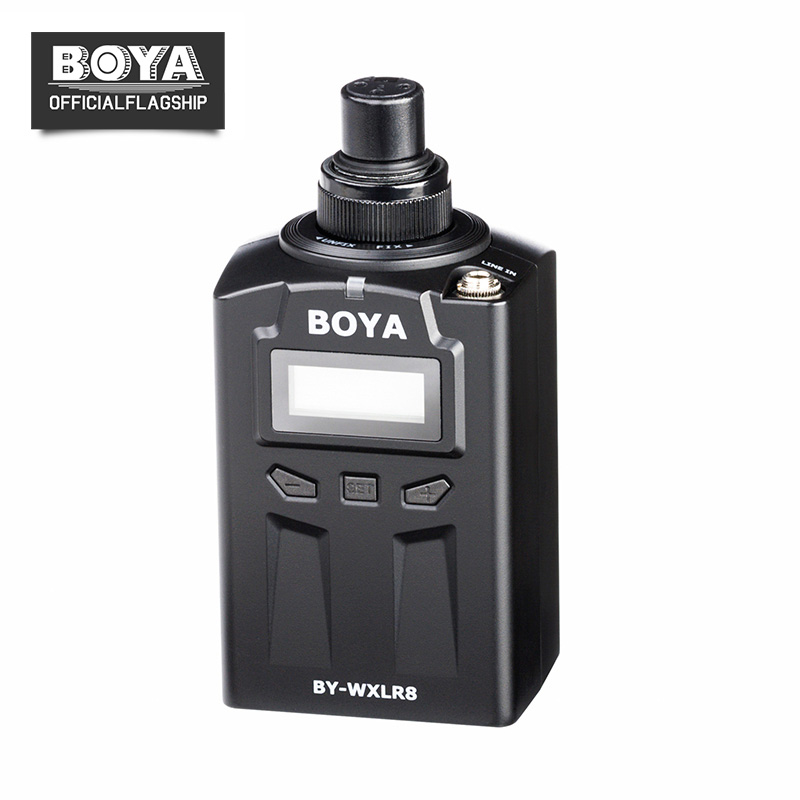 BOYA BY-WXLR8 Plug-on XLR Audio Transmitter with LCD Display UHF Wireless for BY-WM8 BY-WM6 Wireless Lavalier Microphone System boya by whm8 professional 48 uhf microphone dual channels wireless handheld mic system lcd display for karaoke party liveshow