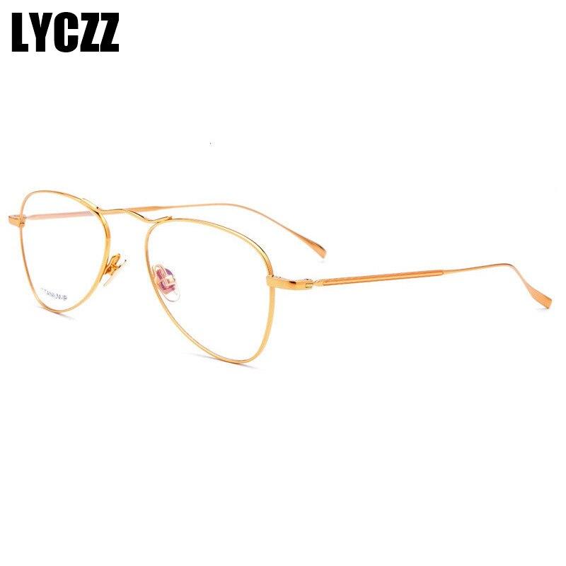 LYCZZ Retro argent or femme nouveau Designer mode lunettes cadre optique métal rond lunettes clair lentille lunettes titane tag