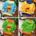 2017 Top Fasion fashion patchwork bears cubs o-neck cartoon cotton character long sleeve baby clothing sweaters free shipping