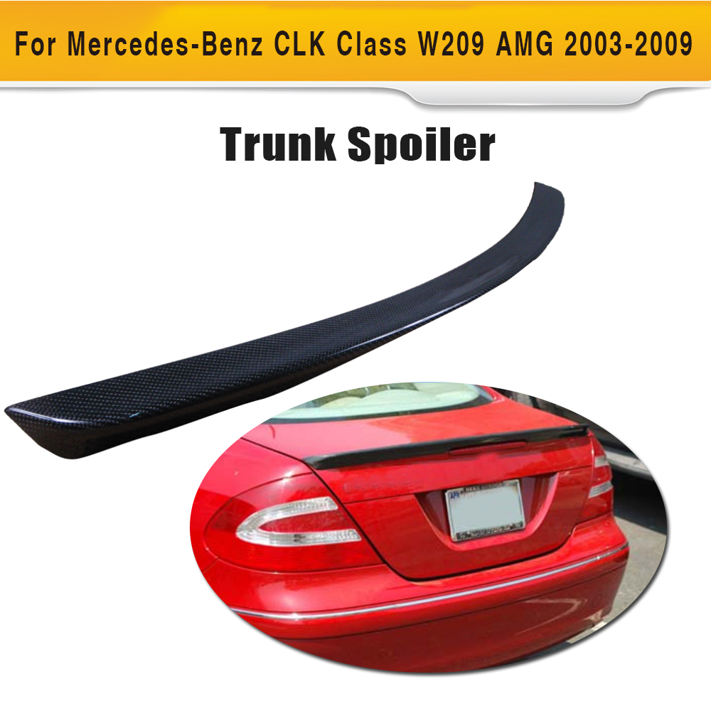 CLK Class Carbon Fiber Car Rear trunk boot lip <font><b>spoiler</b></font> wing For Mercedes Benz <font><b>W209</b></font> C209 Coupe 2 Door AMG 2003-2009 image