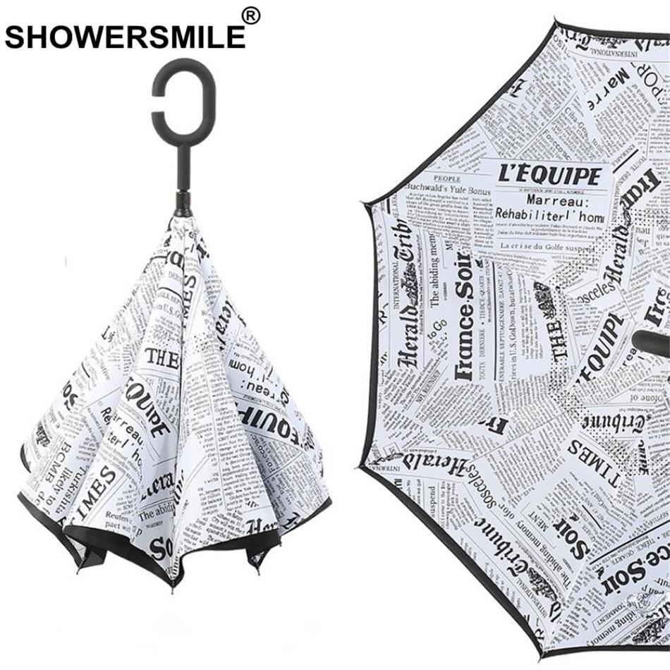 SHOWERSMILE Inverted Umbrella Newspaper Print Folding Reverse Umbrella Windproof Uv Protection Double Layer Inverted Umbrella