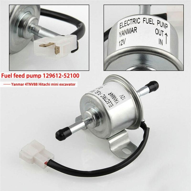 CARPRIE Fuel Pump DC 12V 1.5A Electronic Fuel Feed Pump 129612-52100 For Yanmar 4TNV88 3TNV88 Fine 0.03MPA Silver M31