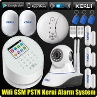 WiFi GSM PSTN RFID Home Alarm Security System TFT Touch Screen Wifi IP Camera ISO Android