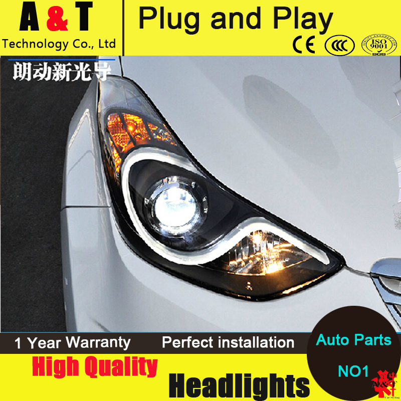 Car Styling For Hyundai Elantra Md Led Headlights 2011 2014 S Type Angel Eye Head Lamp Led Drl