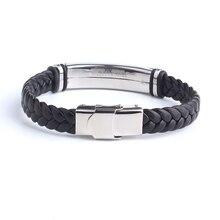 Fashion Custom Name Engrave Leather Bracelet for men