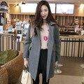 Новая женщина шерстяная ткань пальто зимние серый джокер ткань пальто женщина в издание пальто свободные большие ярдов долго цю дон Карманы Тонкий продажа