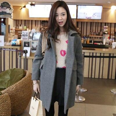 New woman woolen cloth coat winter grey joker cloth coat female in edition coat loose big yards long qiu dong Pockets Slim sale