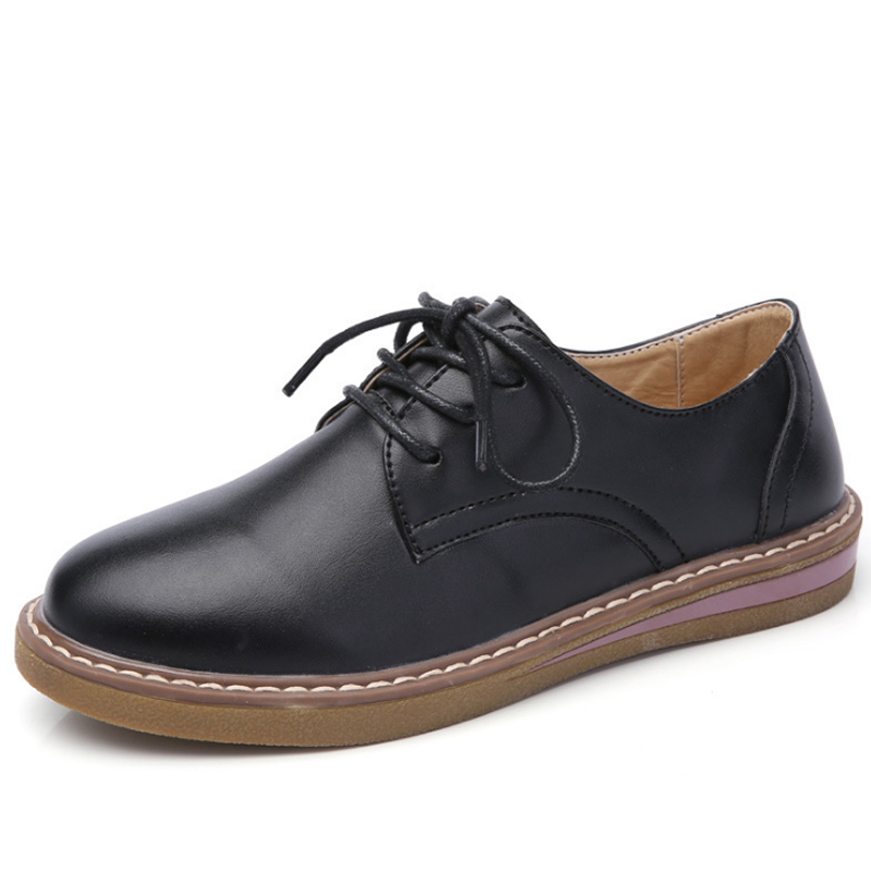 British Style Oxford Shoes For Women 2018 Spring Soft Leather Oxfords Flat Heel Casual Shoes Lace Up Womens Flats Retro Brogues british style men real leather brouge shoes boys new spring zip retro casual shoes craved wing tips flat man oxfords