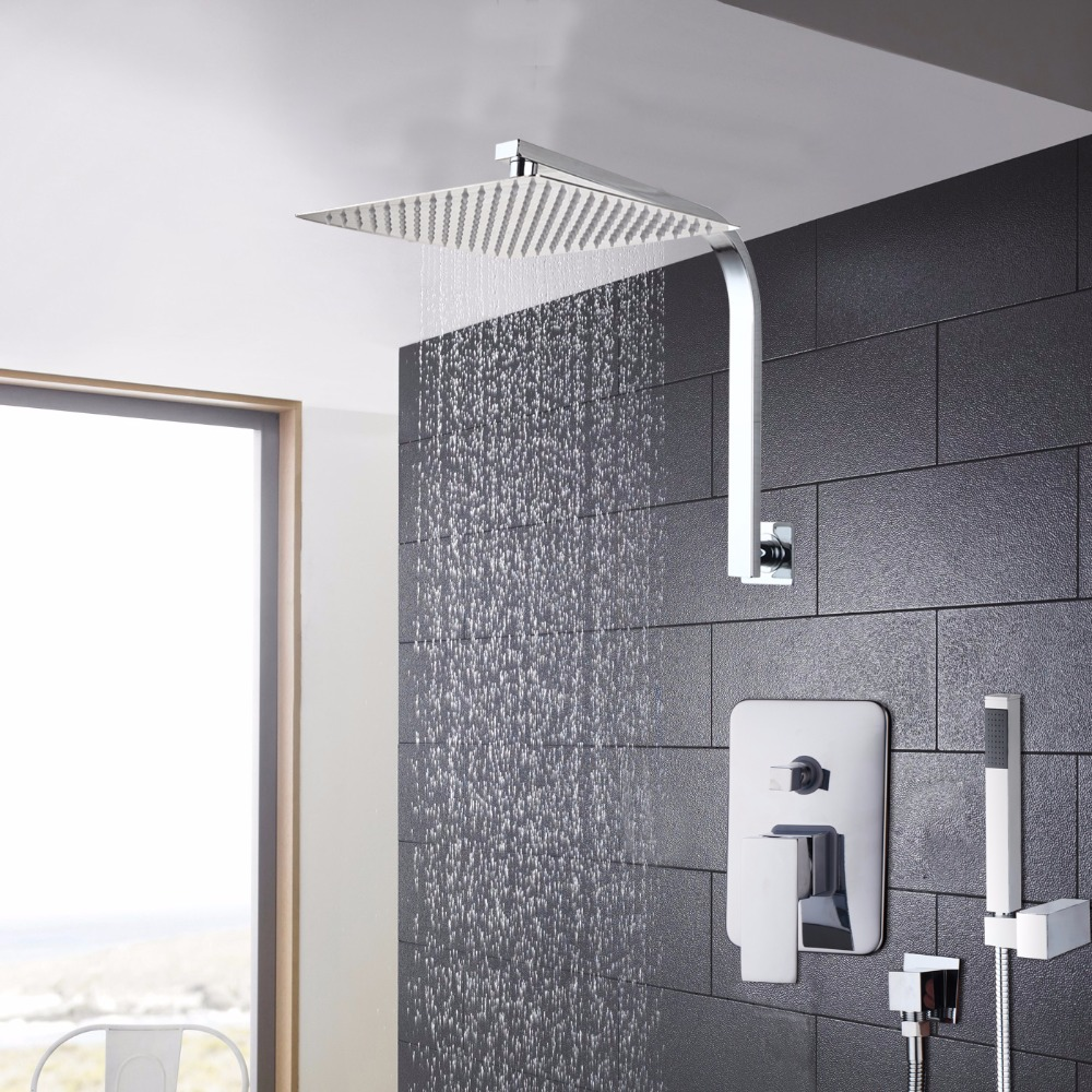 Popular Large Stainless Steel Rain Shower Head & Square Ceiling Dropper Arm Chrome Set Shower Set Faucets
