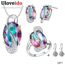 Uloveido circón arco iris de la joyería de la boda conjuntos collar aretes con piedras multicolores famosos regalos de plata para las mujeres 49% off t472