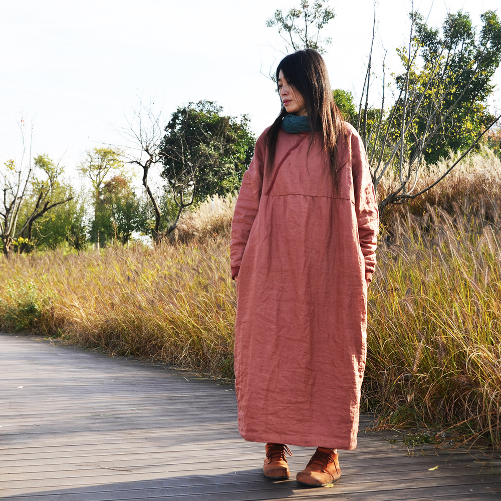Women Autumn Winter Loose Padded Dress ladies Plus Size Solid Vintage Robe Dress Female Cotton Linen