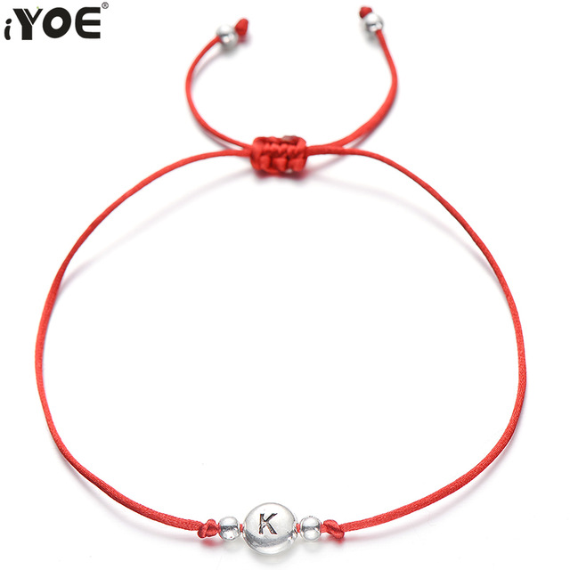IYOE Handmade Red Thread String Rope 26 Letter Beads Bracelet For Women Men Silver Color Initials Name Bracelets Couple Jewelry