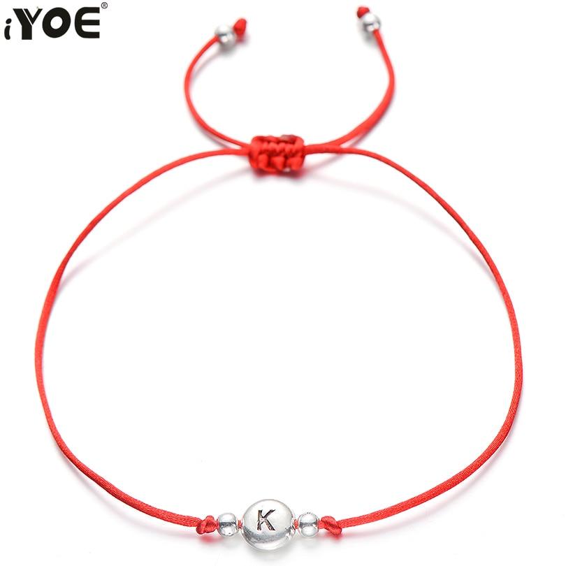 IYOE ручной работы красная веревочная нить 26 Письмо браслет для женщин мужчин серебряный цвет инициалы имя браслеты пара ювелирных изделий б...