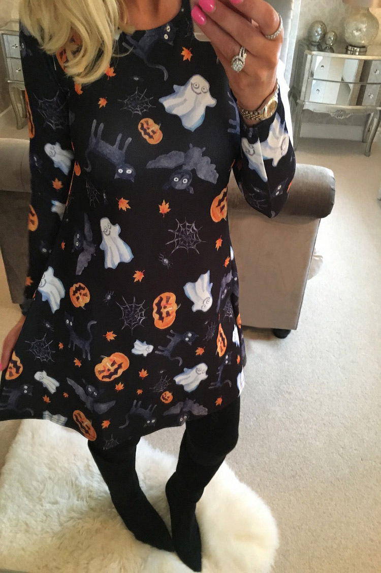 New Winter Christmas Dress Party Halloween Ghost Fashion Cartoon Printed Dress Casual Long Sleeve O Neck Loose Dresses Vestidos