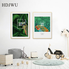 Nordic Canvas Painting Wall Picture Summer Peacock Printing Posters Pictures for Living Room Decor DJ135