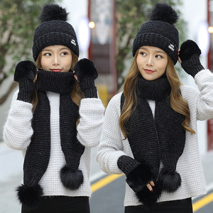 Image 3 - 2018 New Women Winter Hat Scarf /Gloves Sets Female Three   piece Knitted Hats Scarf Set Caps for Girl Warm Skullies Beanies hat