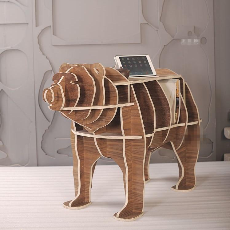 """Huippuluokan 42 """"Bear Multi-fonction massiivipuun säilytyspöytä kirjahyllyllä"""
