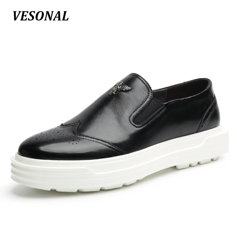 VESONAL New 100% Luxury Genuine Leather Loafers Men Shoes Breathable Platform Fashion Metal Mens Shoes Casual Designer SD6112 vesonal 2017 quality mocassin male brand genuine leather casual shoes men loafers breathable ons soft walking boat man footwear