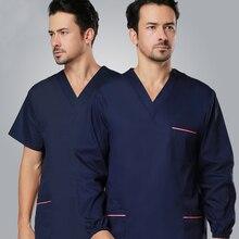 No Fading Surgical Clothing Wash Clothes Men's Scrub Set Cotton Short-sleeve Doctor Clothing Top+Pant 2pcs Set