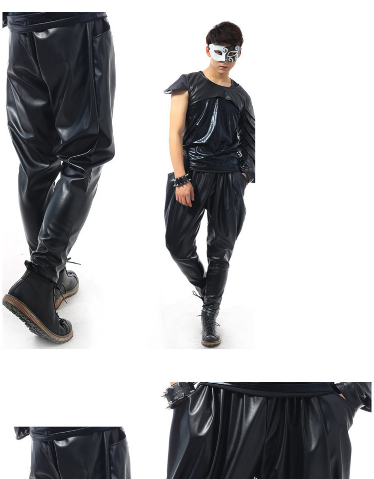 Best version, New Fashion Brand Hip Hop personality Performance sweatpants Male Trousers stage Faux Leather Harem pants 40