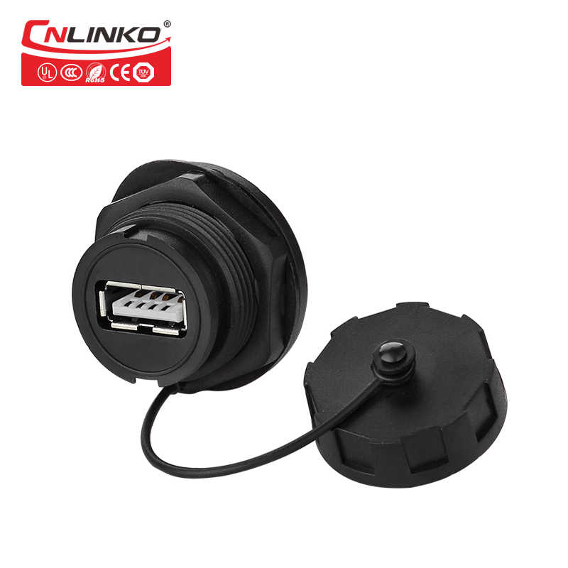 CNLINKO USB2.0 panel mount socket IP67 waterproof USB socket YU USB Female panel mount socket