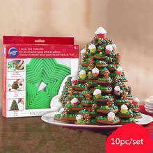 Wilton 3D Christmas tree biscuit mould 15 piece set of  Cartoon Cookie Fondant Tool pastry shaper baking free shipping