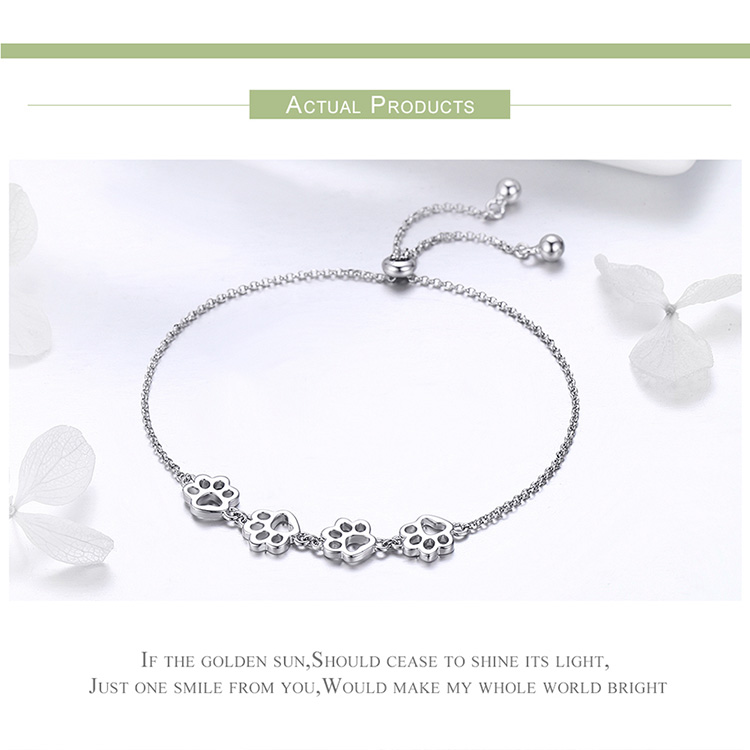 BAMOER New Arrival Genuine 925 Sterling Silver Animal Footprints Chain Bracelets for Women Valentines Day Jewelry Gift SCB096