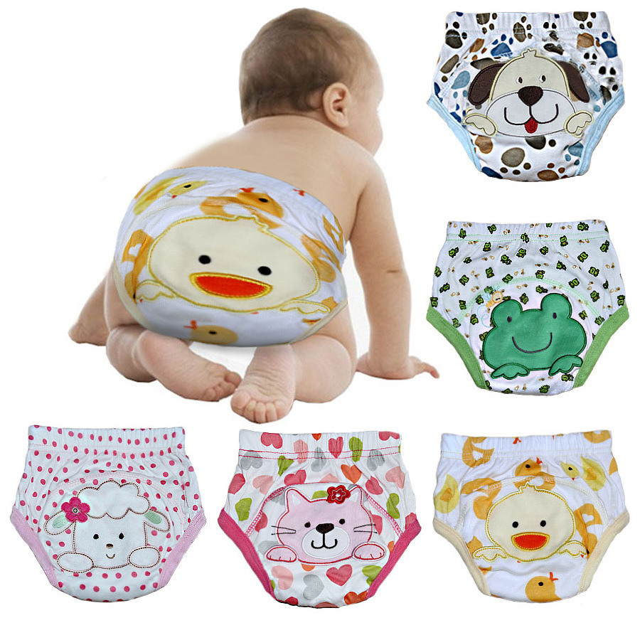 2pcs/lot 4 Layers Waterproof Baby Cloth Diapers Boy Shorts Girl Underwear Infant Training Panties Pee Learning Nappies #007