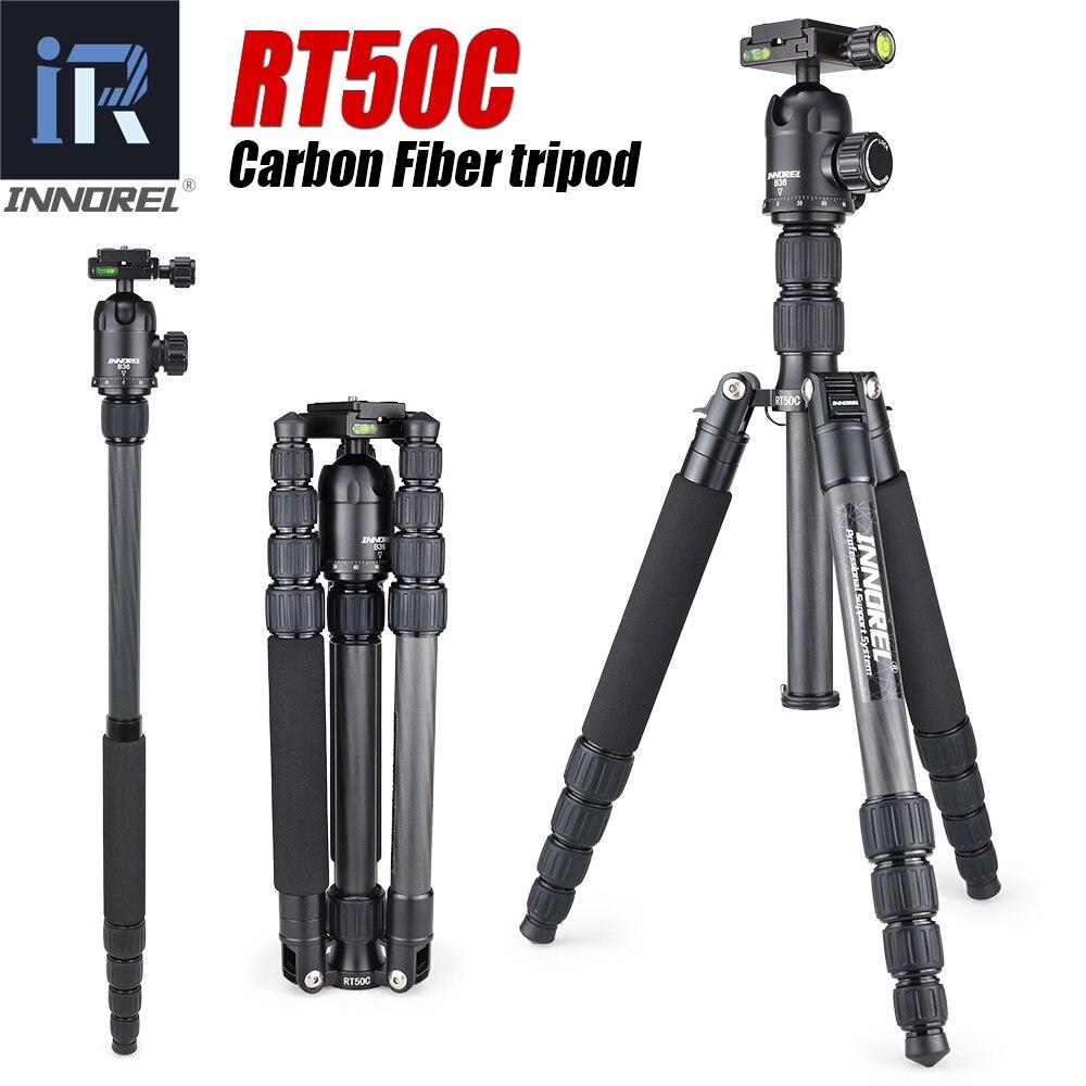 RT50C Fibra De Carbono tripé monopé para dslr camera luz stand Portátil compacto tripe profissional para Gopro Melhor do que Q666C
