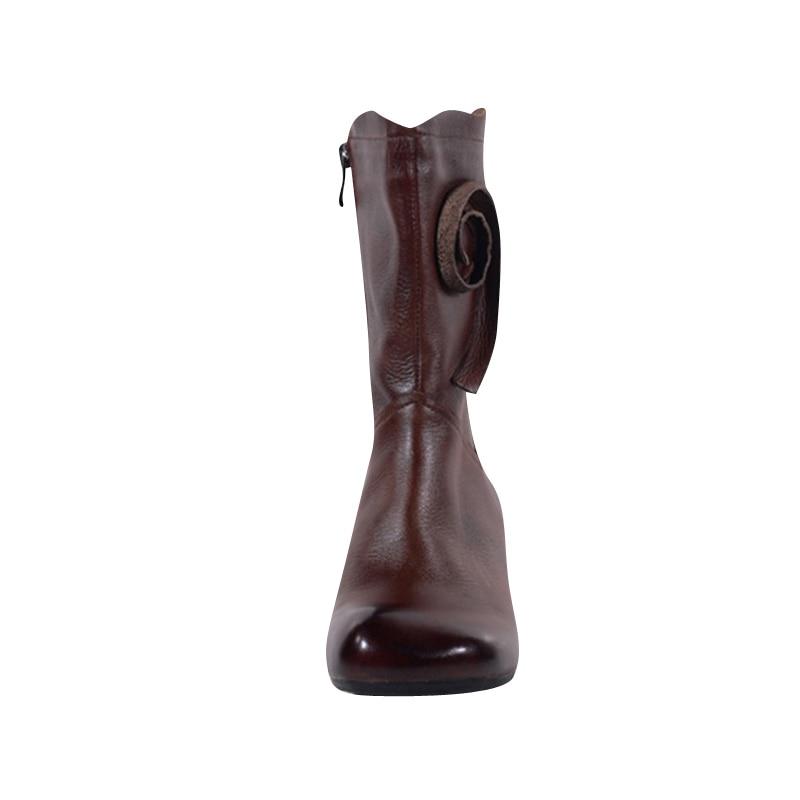 Coffee Femme Automne 3040 mollet Cuir Printemps Chaussures Mi Pour Hiver Xiangban 2019 Véritable Bottes ON8wvmn0
