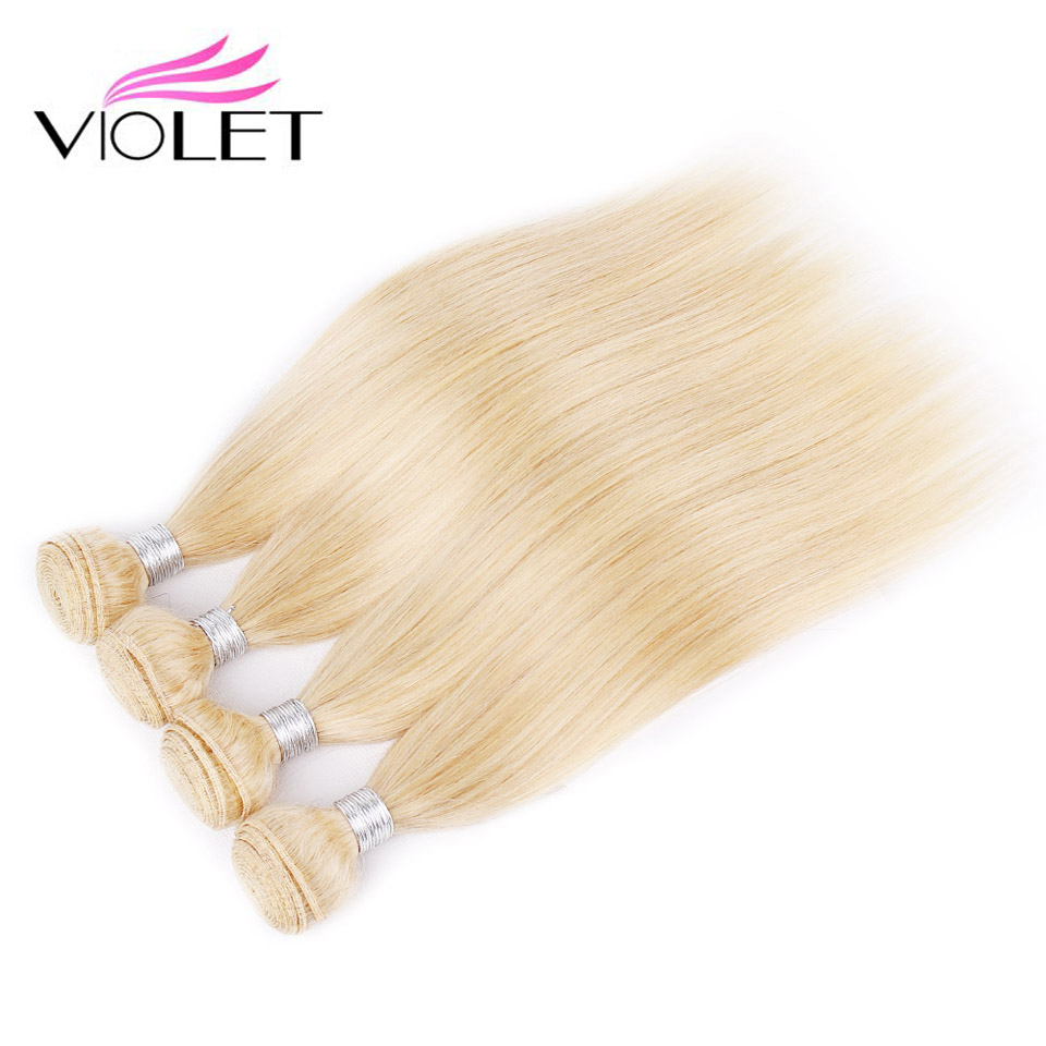 VIOLET Peruvian Straight Hair Bundles 613 Blonde Human Hair Weaving 4 Bundles 10 24 Inches Non