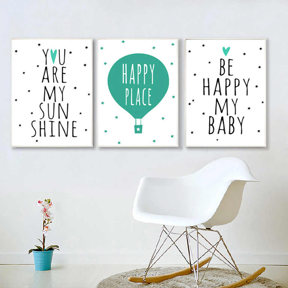 Nordic Minimalist Quotes Wall Art Color Balloon Canvas Painting Posters And Prints Nursery Pictures For Living Baby Room Decor
