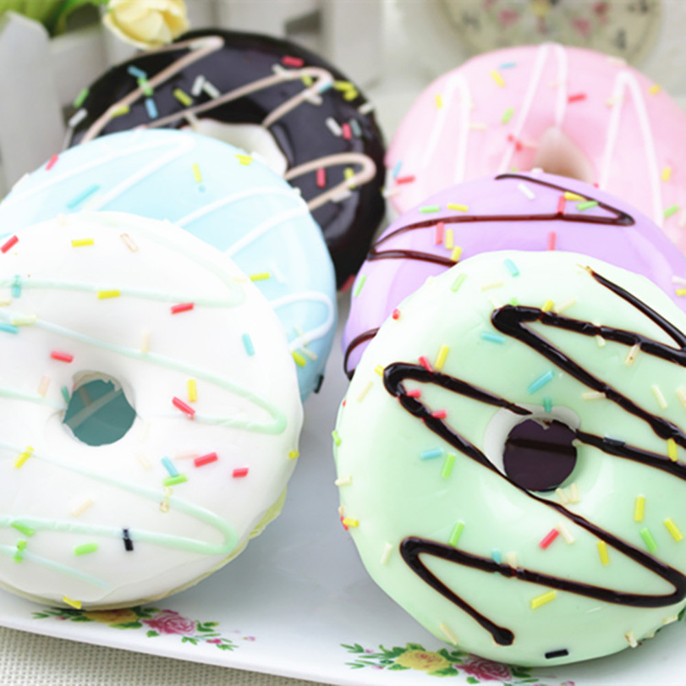 Doughnut Food Squishy Toys Stress Reliever Slime toys Scented Squeeze Slow Rising Fun Toy Relieve Stress Cure Gift