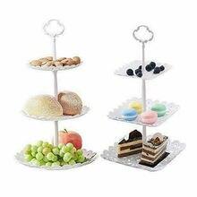 купить 3 Tier Plastic Cake Stand Afternoon Tea Wedding Plates Party Tableware Bakeware Cake Shop Three Layer Cake Rack Storage Tray дешево