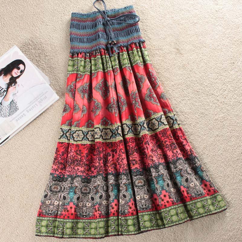 Boho Floral A-line Women's Maxi Skirt Elastic High Waist Sashes Vintage Pleated Womens Skirts 2020 Summer Fashion Clothes Female