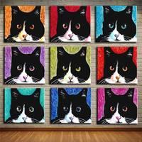 Andy Warhol 9 sztuk Cat Drukuje Obraz Olejny Wall Art Cuadros malowanie Na Płótnie Bez Ramki Zdjęcia Decor Dla Pokoju Gościnnego 8x8