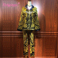 2018 New Autumn Fashion Runway Designer Suit Women Three Pieces Set Floral Print Tops And Skirt