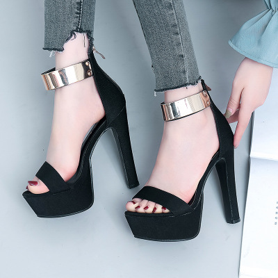 classic style women black flock leather thick heel sandals