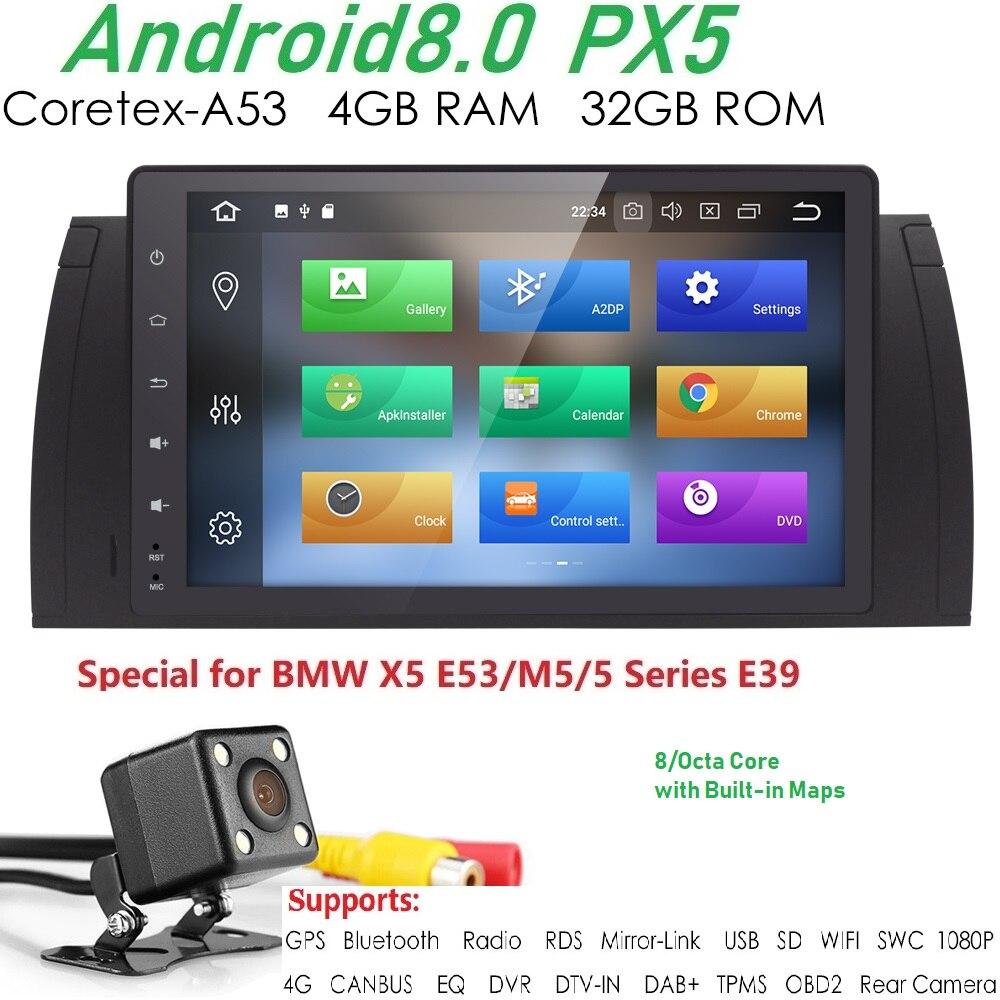 PX5 9 pouces 1024x600 HD Écran Tactile 1 din Android 8.0 Voiture Multimédia Radio Stéréo pour BMW E39 E53 x5 Wifi 4G Bluetooth DVR RDS USB